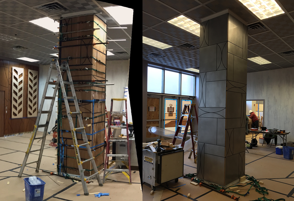 installing art deco pillar at Appalachian Electric Powe AEP lobby