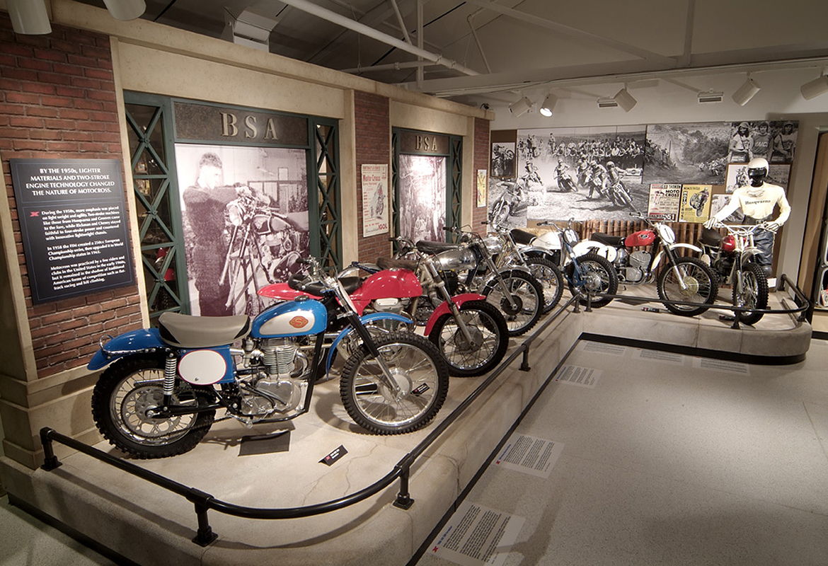 Motorcycle Hall of Fame Museum Motocross America historic exhibit area