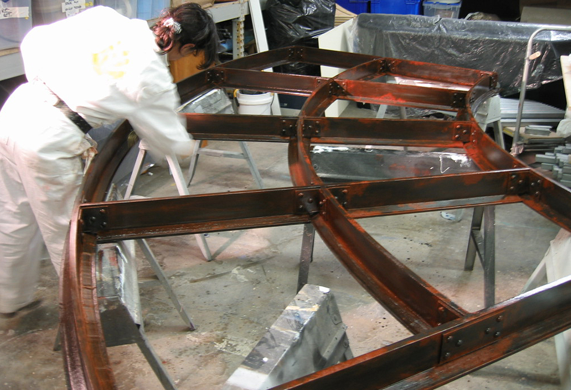 constructing faux iron for Motorcycle Hall of Fame Museum Motocross America