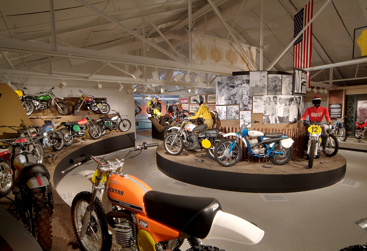 circular mud tracks of the Motorcycle Hall of Fame Museum Motocross America